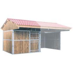 Extension fermée pour abri double pente larg. 4 m x prof. 3 m La Gée Cheval