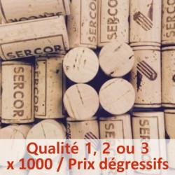 Bouchon de liège Qualité 1, 2 ou 3 - 100% Naturel, 45 x 24 mm, sac de 1000