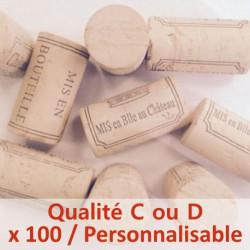 Bouchon de liège colmaté Qualité C ou D - 45 x 24 mm, personnalisable, sac de 100