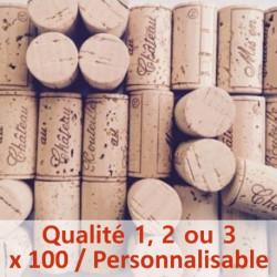 Bouchon de liège Qualité 1, 2 ou 3 - 100% Naturel, 45 x 24 mm, personnalisable, sac de 100