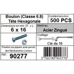 Boulon Tête Hexagonale 6 x 16 mm acier zingué