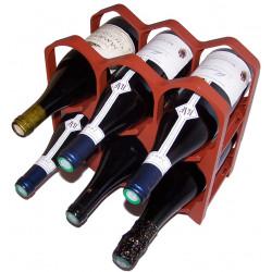 Casier bouteille design empilable couleur brique
