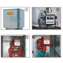 1: Caisson, 2: Pompe à main, 3: Compteur mécanique, 4 Pompe électrique 50l/min