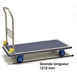 Chariot à dossier rabattable grand plateau : 1210 mm 300kg