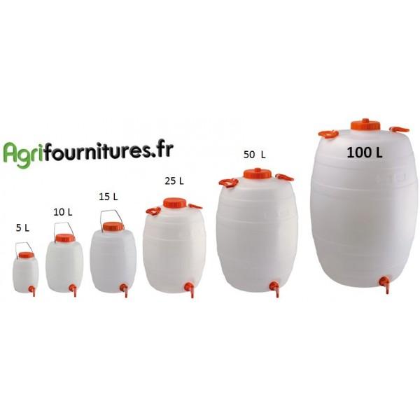 Tonnelet cylindrique qualit alimentaire avec robinet - Jerrican alimentaire l avec robinet ...