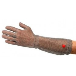 Gant en cotte de mailles inox avec manchette 15 cm Qualité Alimentaire