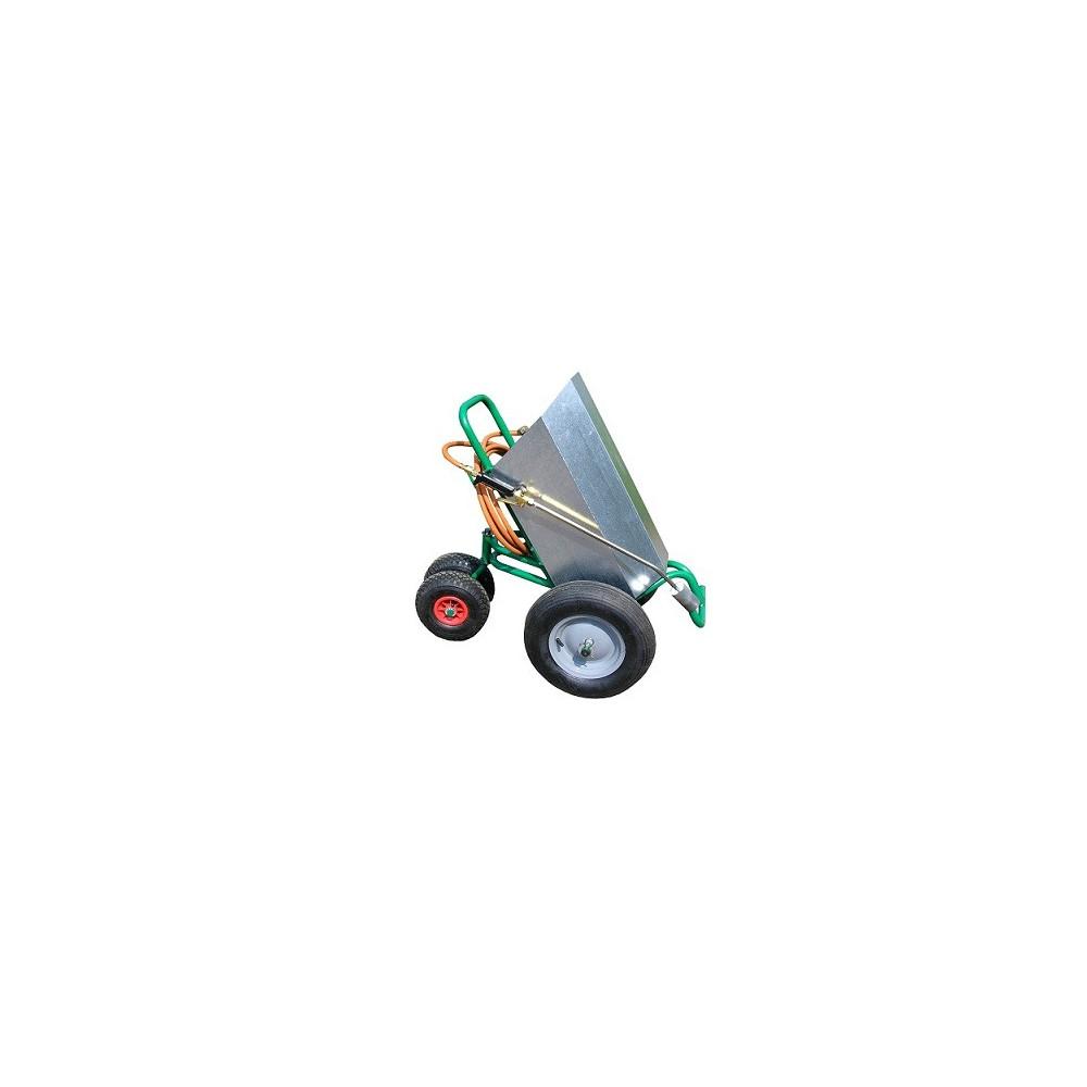 Désherbeur Thermique Charoflam 40 avec Chariot porte-bouteille à 4 roues. Idéal pour traiter sans se fatiguer