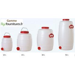 Tonnelet Cylindrique Qualité Alimentaire sans Robinet 10 à 50 L
