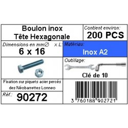 Boulon Tête Hexagonale 6 x 16 mm INOX A2